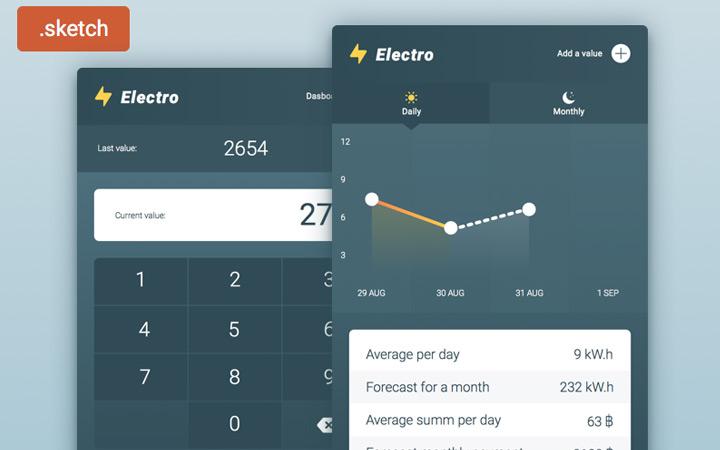 electro mobile app freebie