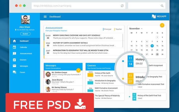education dashboard psd freebie