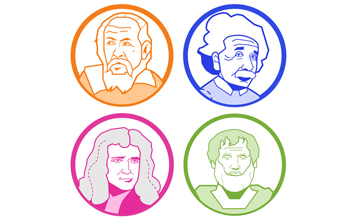 icons illustrations famous scientists