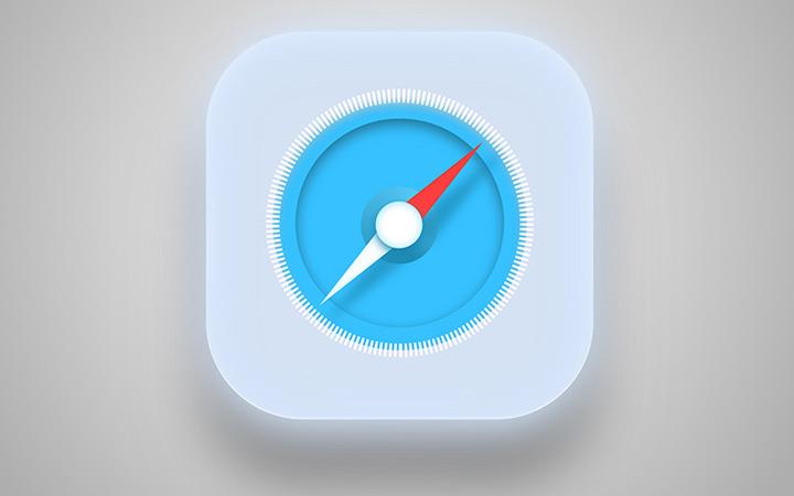 glowing clear safari browser icon