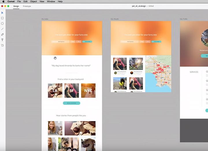 Mac beta Adobe Comet screenshot