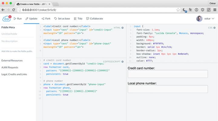 new jsfiddle IDE redesign